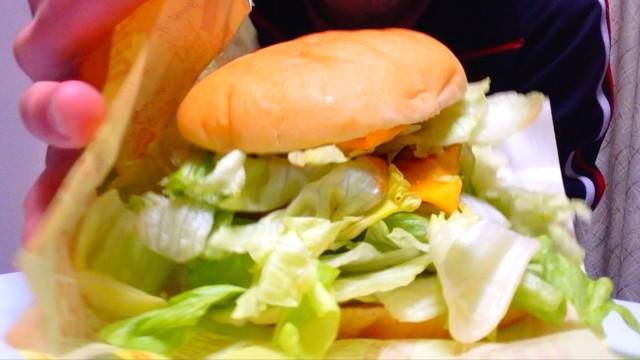 【限定メニュー】スーパーレタスちーずバーガー!GETだぜ!マジ美味い!